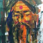 7) Girija Shanker I Sant I Acrylic on Paper I 15x18 Inches