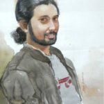 Dinesh Shringirishi Shreejesh Portrait Water Colour on Paper 28 x 22 Inches